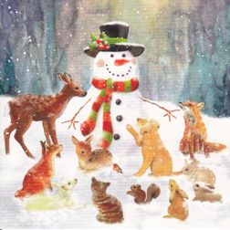 Christmas Card from Yorkshire Cat Rescue - snowman and animals