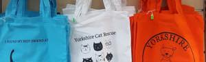 Orange blue and white tote bags on sale at Yorkshire Cat Rescue