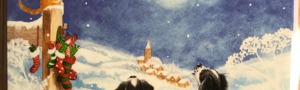 Watching the Sleigh Yorkshire Cat Rescue Christmas Card