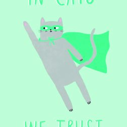 Because Cats -  card at Yorkshire Cat Rescue caped flying super cat