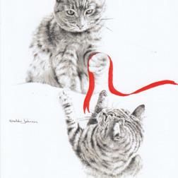 Christmas Card from Yorkshire Cat Rescue - two tabby cats and a red ribbon