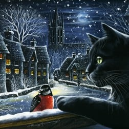 Christmas Card from Yorkshire Cat Rescue - black cat and winter scene