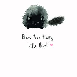 Because Cats - exclusive design card for Yorkshire Cat Rescue - black fluffy cat