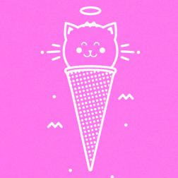 Pink card with cat and ice cream code at Yorkshire Cat Rescue.  Because Cats