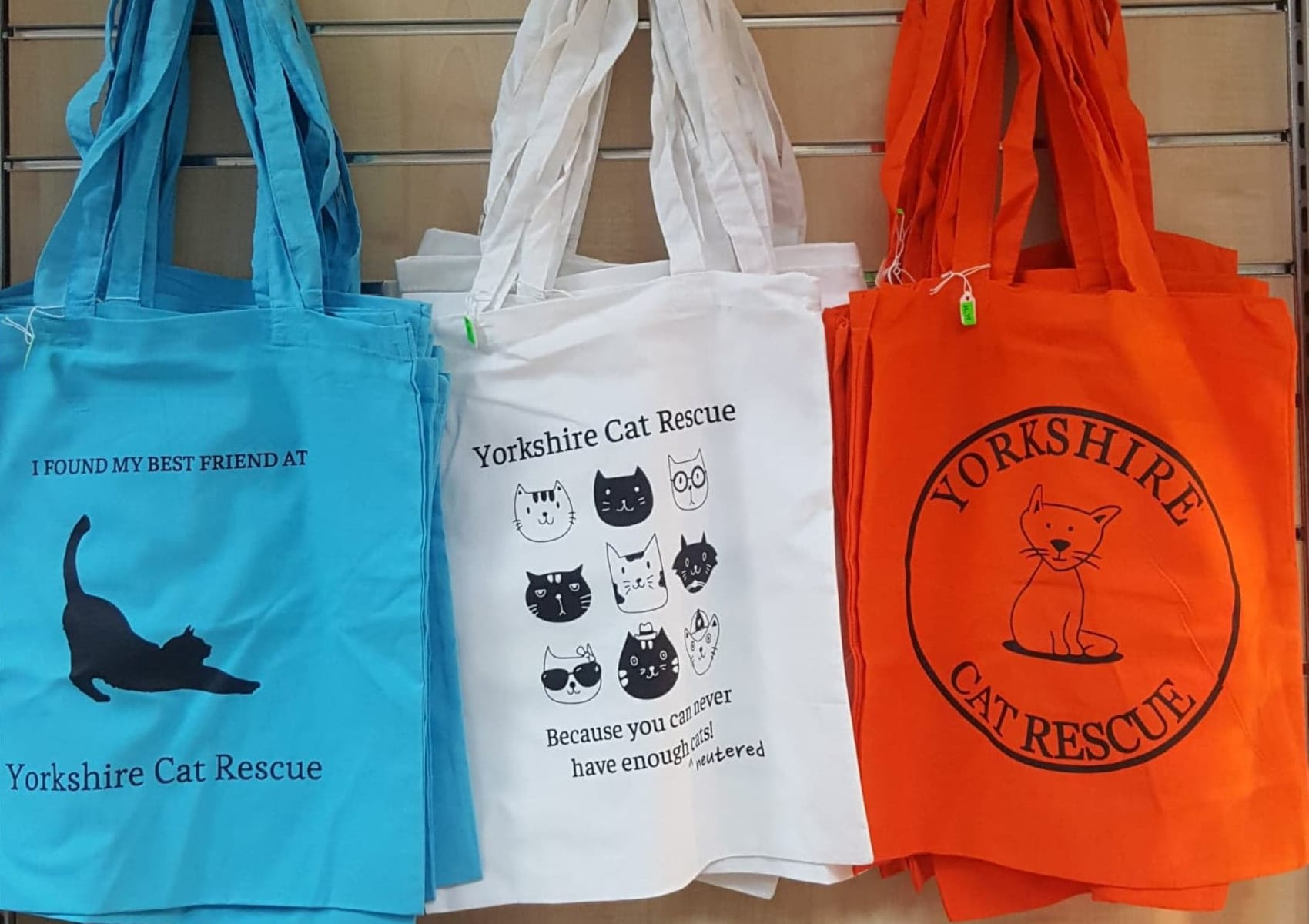 Blue tote bag - I found my best friend at Yorkshire Cat Rescue